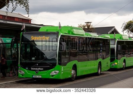 Malmö, Sweden - September 2, 2018: Two Green Mercedes Buses Are Waiting For Passengers At Malmö Cent