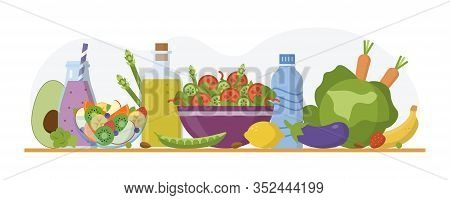 Alkaline Diet Concept. Alkaline Food And Drinks On The Table. Flat Design. Vector Illustration.