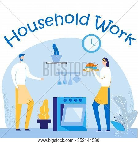 Young Loving Couple Cooking Together On Kitchen Doing Household Work. Family Prepare Dinner. Every D