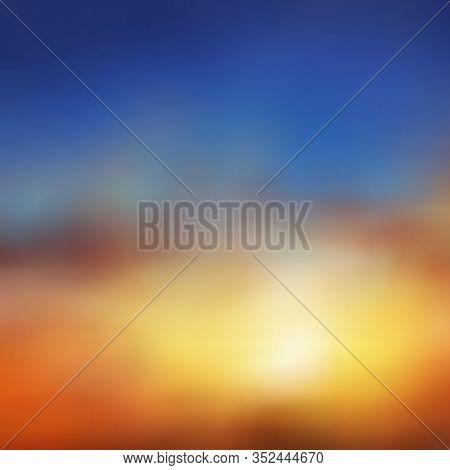 Beautiful Vector Background, Natural Phenomenon, Brownish Orange Sunset Or Dawn, Blue Sky, Blur, Haz