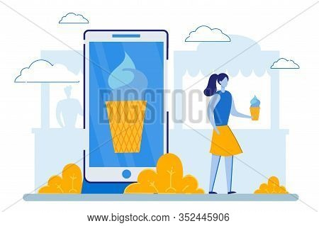 Woman Use Smartphone For Ordering Icecream. Girl Stand At Huge Cellphone With Image Of Ice Cream On