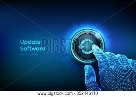 Update Button. Closeup Finger About To Press A Button. Upgrade Software Version Concept. Computer Pr