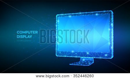 Monitor. Abstract Computer Monitor With Blank Empty Screen. Low Poly Geometric Shapes. Internet Or D