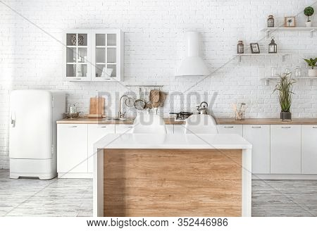Modern Stylish Scandinavian Kitchen Interior With Kitchen Accessories.