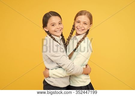 Friendly Relationship. Friendship Goals. Cute School Girls Classmates. Cheerful Mood Concept. My Dea