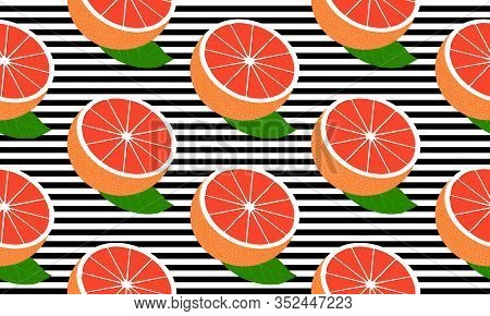 Seamless Background With Black Stripes And Half Red Grapefruit With Leaf. Vector Illustration Design