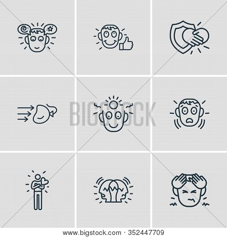 Vector Illustration Of 9 Emoticon Icons Line Style. Editable Set Of Hungover, Paranoid, Gratitude An