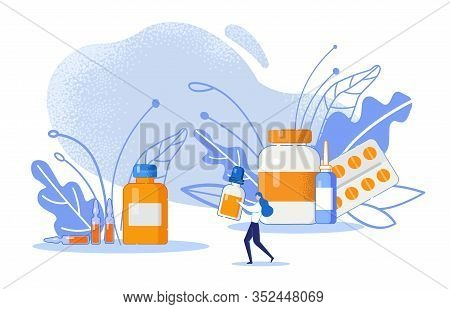 Pharmacological Healthcare Concept With Medicament. Pills, Glass Jars With Medicine, Ampoules, Medic