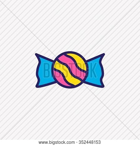 Vector Illustration Of Candy Icon Colored Line. Beautiful Love Element Also Can Be Used As Bonbon Ic