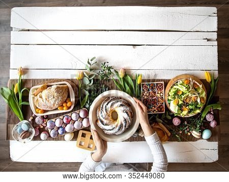 For A Table Set With Food, Easter Holiday.