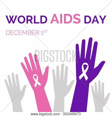 World Aids Day Flat Banner Template. Silhouettes Of Rising Hands With Ribbons Vector Illustration. A