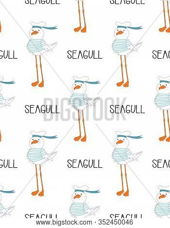 Seamless Pattern Of Cute Seagull In Sailor Hat Isolated On White, Hand Drawn Vector Illustration For