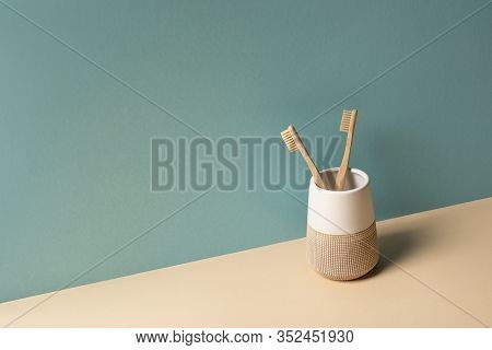 Toothbrushes In Toothbrush Holder On Beige And Grey, Zero Waste Concept
