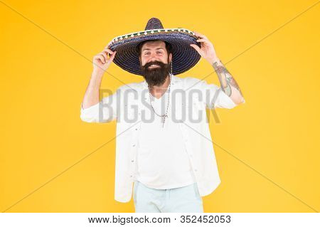 Maintain Tradition. Celebrating Fiesta. Happy Man Wear Poncho. Having Fun On Party. Sombrero Party M