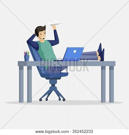 Smiling Man Sitting At The Table And Launching Paper Airplanes Vector Illustration. Flat Character W