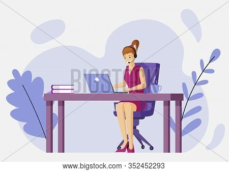 Woman In Casual Clothes Sitting At The Table In Front Of Laptop With Earpiece And Microphone Vector