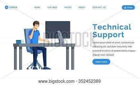 Technical Support Landing Page Vector Template. Smiling Man Sitting In Front Of Computer With Headph