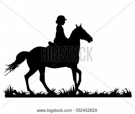 Young Horsewoman Is Riding A Gallop On The Grass, Isolated Image, Black Silhouette On A White Backgr