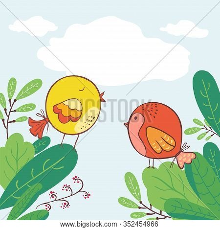 Doodle Early Bird Special Trendy Design With Bird In Leaves Greeting Card Template. Funny Character.