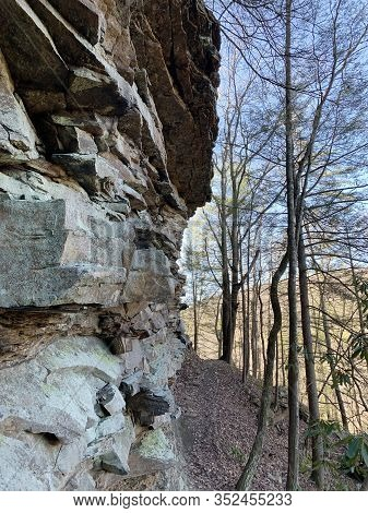 Layered Sandstone Cliffs Along The Cumberland Trail, Emory Section That Starts At The Nemo Bridge Pi