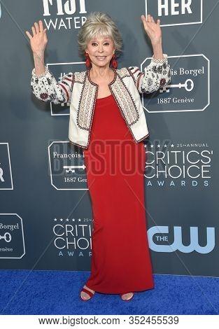 LOS ANGELES - JAN 12:  Rita Moreno arrives for the 25th Annual Critics' Choice Awards on January 12, 2020 in Santa Monica, CA