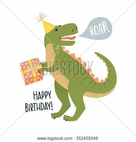 Party Invitation Card Template With Dinosaur Design Flat Style Concept.