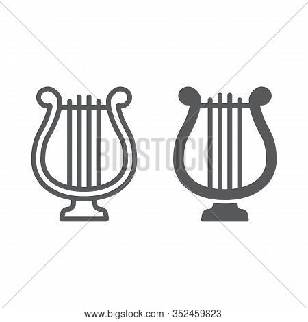 Harp Line And Glyph Icon, St Patrick S Day And Music, Lyre Sign, Vector Graphics, A Linear Pattern O