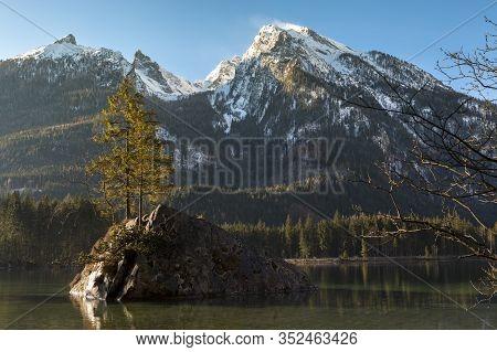 Famous Lake Hintersee And Watzmann, Bavaria, Germany