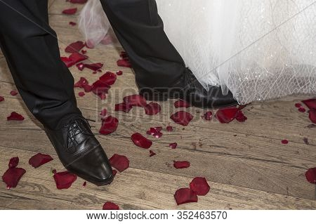 Shoes Of The Groom With Rose Petals, Wedding Concept