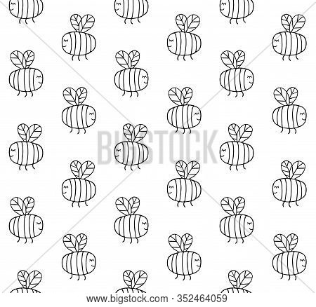 Vector Seamless Pattern Of Hand Drawn Doodle Sketch Bumblebee Bee Isolated On White Background