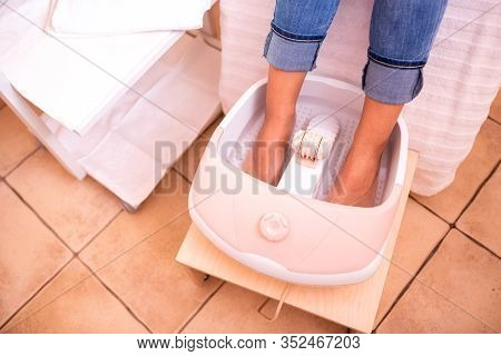 Foot Spa Pedicure, Feet Soaked In Foot Bath Tub