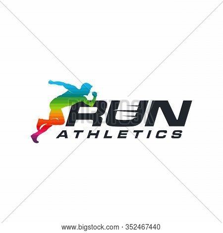 Running Man Silhouette Logo With Finish Ribbon, Marathon Logo Template, Running Club Or Sports Club