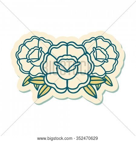 sticker of tattoo in traditional style of a bouquet of flowers