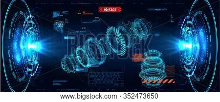 3d Turbine Hologram In Hud Style. Jet Engine Of Airplane, Industrial Aerospace Blueprint. Future Eng