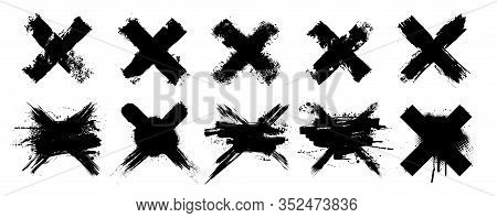Vector Set X Black Mark. 10 Highly Detailed And Different Crosses. Cross Sign Graphic Symbol. High Q
