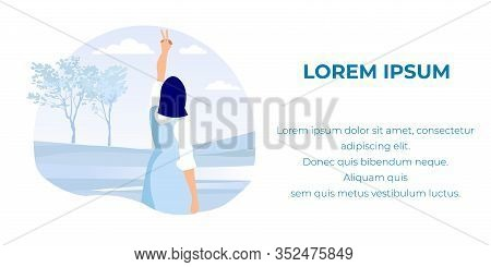Cartoon Businesswoman Character Standing With Back And Gesturing Victory Finger Sign. Business Succe
