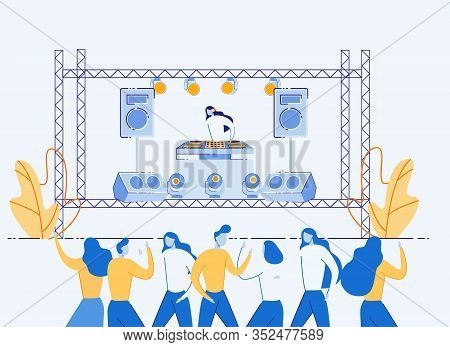 Dj Fest Music Concert, Woman In Headphones Mixing Music Tracks On Console Standing At Open Air Stage