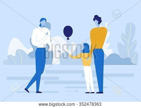 Happy Family Rest. Parents With Daughter Walking In Natural Park. Girl Giving Balloon To Dad. Two Fa