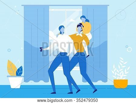 Happy Family With Kid Resting At Home. Cartoon People Characters. Parents And Child Indoors. Spendin