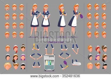 Constructor Character Chambermaid Woman And Objects For Animation Scene Flat Cartoon Banner Vector I