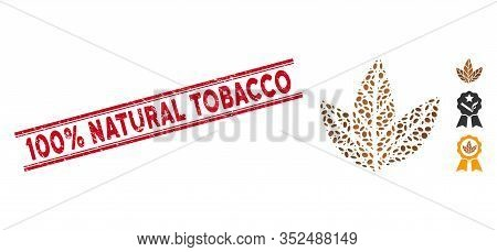 Grunge Red Stamp Watermark With 100 Percent Natural Tobacco Text Between Double Parallel Lines, And