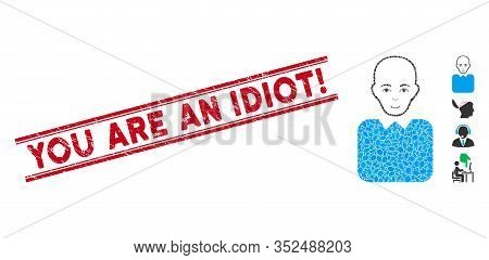 Distressed Red Stamp Seal With You Are An Idiot Exclamation Text Inside Double Parallel Lines, And C