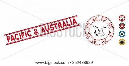 Rubber Red Stamp Seal With Pacific And Australia Text Inside Double Parallel Lines, And Mosaic Joker