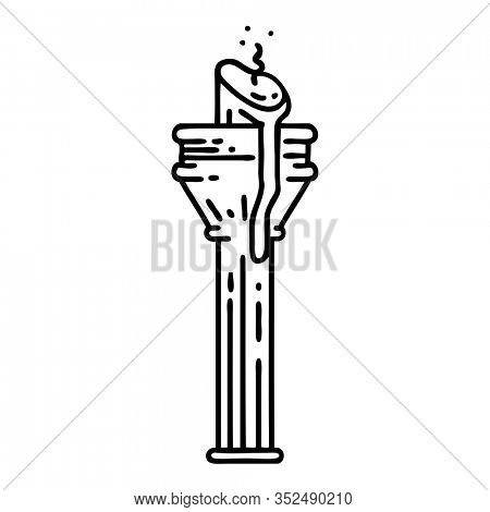 tattoo in black line style of a candelabra