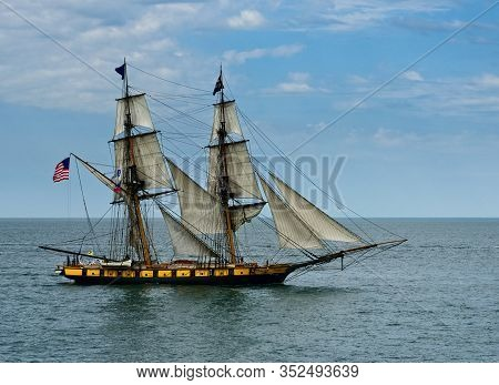 Cleveland, Oh - July 11, 2019: The Us Brig Niagara, An Authentic Reproduction Of Commodore Oliver Ha