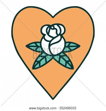 iconic tattoo style image of a heart and flowers