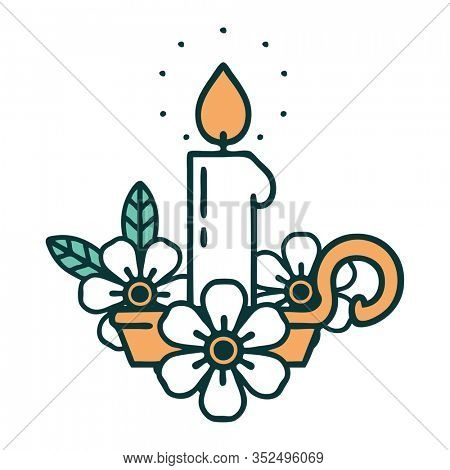 iconic tattoo style image of a candle holder