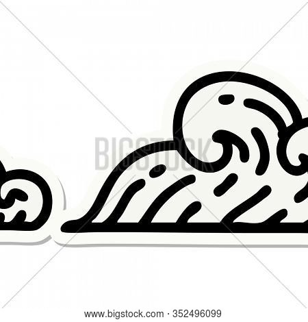 sticker of tattoo in traditional style of clouds