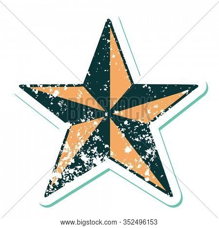 iconic distressed sticker tattoo style image of a star