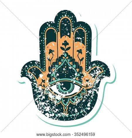 iconic distressed sticker tattoo style image of a hamza